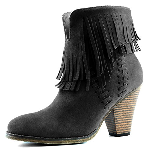 DailyShoes Angus 01 Western Fringe Cowboy Ankle Booties Bootie High Heel Moccassin Point Toe Summer Evening Dress Cute Boots for Festival Angus-01 Black Sv 11