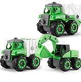 WAQB XL Desmontar vehículos de construcción, Licuadora, Excavadora- Set de construcción Stem - Kit de ingeniería para niños, niñas y niños pequeños,Verde