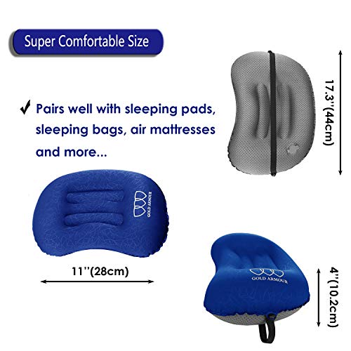 Gold Armour Inflatable Camping Pillow Backpacking Pillow Lightweight Travel Air Pillow Ultralight Ergonomic Pillow Portable for Airplanes with Neck & Lumbar Support (Blue, 1)