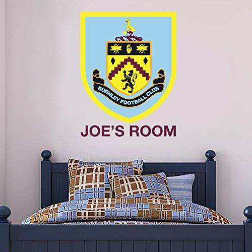 Beautiful Game Burnley Football Club Official Crest & Personalised Name Wall Mural Sticker + Burnley FC Decal Set Vinyl Poster Print Mural (90cm Height)
