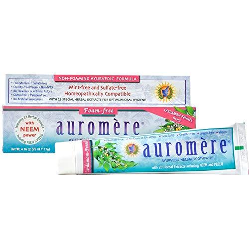 Auromere Ayurvedic Herbal Toothpaste, Cardamom Fennel, Foam Free - Vegan, Natural, Non GMO, SLS Free, Fluoride Free, Gluten Free, with Neem & Peelu (4.16 oz) (1 Pack)