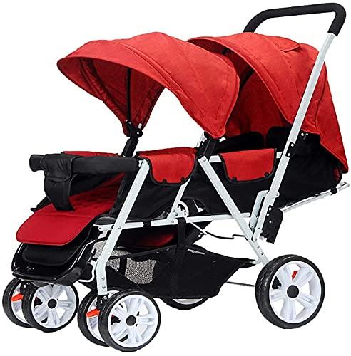 PROMAMENTOS DOBLE BEBY, la silla de cochecito doble se puede plegar en los asientos delanteros y traseros, fáciles de almacenar un segundo cochecito de bebé, dobles cochecitos livianos (Color : B)