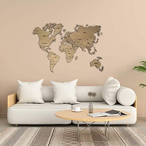 Mappa del mondo in legno personalizzabile per parete: con nomi di paesi incisi, colore del legno e diverse dimensioni • 100x60cm | 160x100cm | 200x120 cm SPEDIZIONE GRATUITA