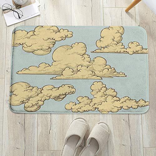 Alfombrilla de baño antideslizante, para baño o ducha,Vintage, mullido formado nubes pasadas de moda en el aire Funk, alfombra de suelo absorbente, para sala de estar, sofá, cojín, caucho, 60 x 100 cm