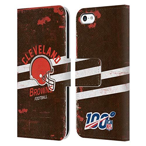 Head Case Designs Oficial NFL Casco Distressed Look 100th 2019/20 Cleveland Browns Carcasa de Cuero Tipo Libro Compatible con Apple iPhone 5c