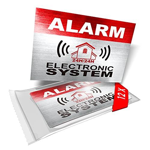 imaggge.com - 12 adesivi per segnaletica di allarme di sicurezza, sistema elettronico, per uso interno ed esterno, protezione per casa, auto, resistente alle intemperie, dimensioni: 8,6 x 5,6 cm