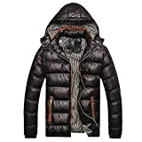 Mens Thicken Outerwear, Balakie Detachable Hood Jacket Solid Padded Bubble Coat(Black,L)