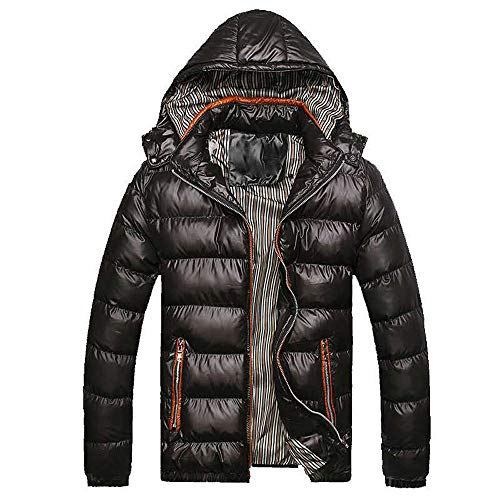 Mens Thicken Outerwear, Balakie Detachable Hood Jacket Solid Padded Bubble Coat(Black,XXXXL)