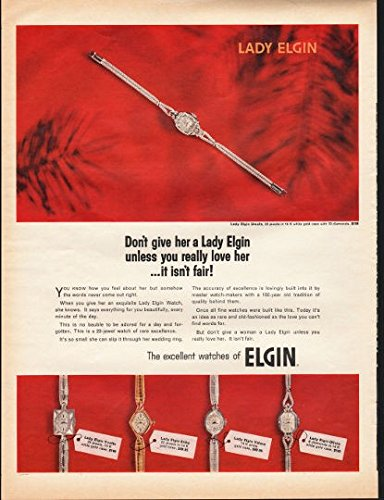 Vintage 1966 Elgin Watch Ad Lady Elgin Unless You Really Love her