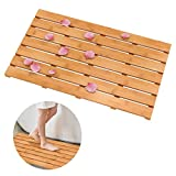 Domax Wooden Bamboo Bath Shower Mat- Non-Slip Waterproof Large Bathroom Floor Mat for Indoor Outdoor (Bamboo, 31.3 x 18.1 x 1.5 Inches)