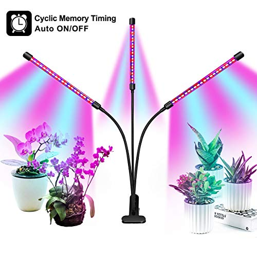 Full Spectrum Grow Light for Indoor Plants, Auto ON & Off Bulbs with 3/9/12H Timer, 8 Dimmable Lightness Clip-On Desk Led Plant Growing Lamps (with AC Adapter).