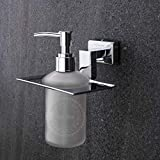 CHOSEN Stainless Steel 304 Glass Liquid Soap Dispenser for Bathroom and Wash Basin, Sanitizer Dispenser (Anti Corrosive) (Frosted Glass, Silver, Stylish) (Made in India)