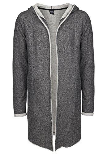 Sublevel Herren Sweat-Cardigan mit Kapuze | Strickjacke | Long Cardigan aus hochwertiger Baumwolle Black L