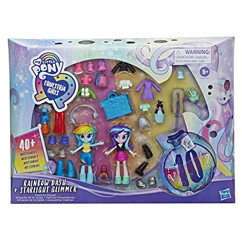My Little Pony Equestria Girls Fashion Squad Rainbow Dash and Starlight Glimmer Mini Doll Set Toy with Over 40 Fashion Accessories