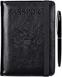 RFID Passport Holder Cover-leather Anti-theft Travel Wallet Card Case Document Organizer with Pen for Women Men (Black)