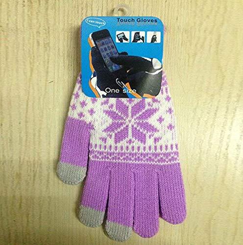 JBIVWW Guantes de Pantalla táctil cálida de Invierno Hombres Mujeres Guantes de Punto Guantes Color de Caramelo Mittens for teléfono móvil Tablet Pad (Color : Lavender)