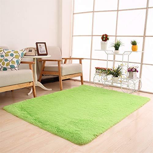 Ommda Alfombras Modernas Salon Grandes Pelo Largo Piel Habitacion Shaggy Artificial Alfombras Lavables Antideslizante,Manzana Verde,200x300cm