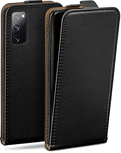 moex Flip Hülle für Samsung Galaxy S20 FE/FE 5G Hülle klappbar, 360 Grad R&um Komplett-Schutz, Klapphülle aus Vegan Leder, Handytasche mit vertikaler Klappe, magnetisch - Schwarz