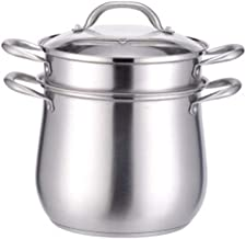 PPSM 304 Stainless Steel Soup Pot High Pot With Lid Steamer, Two-layer Steaming Pot 24cm 26cm + Single Steam Grid (Color :...
