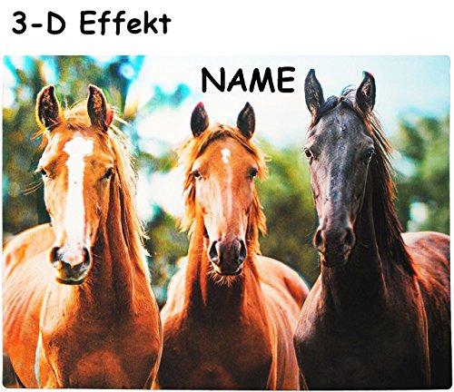 alles-meine.de GmbH 3-D Effekt __ Unterlage -  Pferde  - incl. Name - als Tischunterlage / Platzdeckchen / Malunterlage / Knetunterlage / Eßunterlage / Platzmatte - Tier Schule..