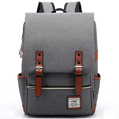 ZDTech Casual Vintage Backpack Canvas Laptop Computer Bag College School Backpack Shoulders Bag Ourdoor Weekend Travel Daypack (Grey)