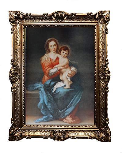 Lnxp Madonna María con Jesús, marco barroco antiguo, marco barroco, cuadro de pared de 70 x 90 cm, impresiones artísticas religiosas, arte de santos retro, para casa, oficina, consulta, café