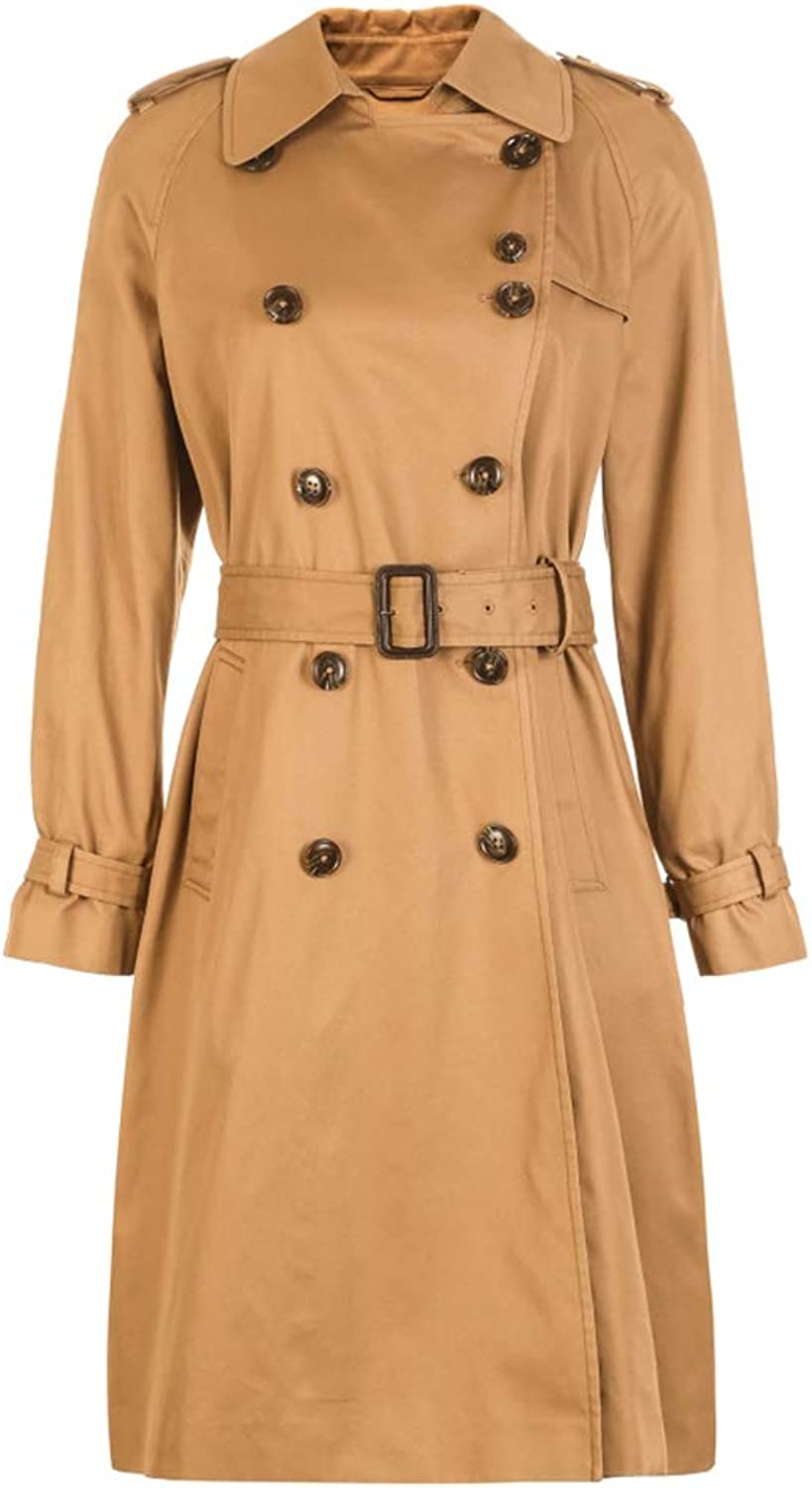 Trench Coat Women's MidLength Trench Coat Lapel Jacket Cotton Jacket DoubleBreasted Spring Trench Coat Detachable Belt (color   Khaki, Size   170 88A L)