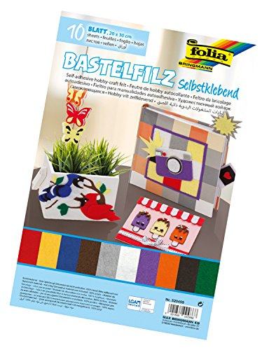 folia 520499 - Bastelfilz selbstklebend, 10 Blatt farbig sortiert, ca. 20 x 30 cm