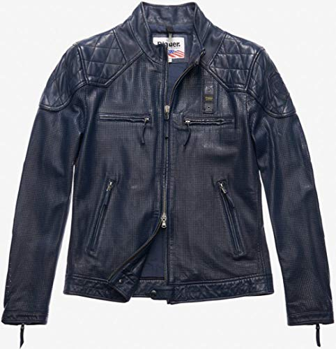 Blauer USA Jones Perforierte Lederjacke Blau M