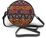 BAODANLA Bolso redondo mujer Colorful Geometric Tribal Pattern Women Soft Leather Round Shoulder Bag Zipper Circle Purses Sling Bag
