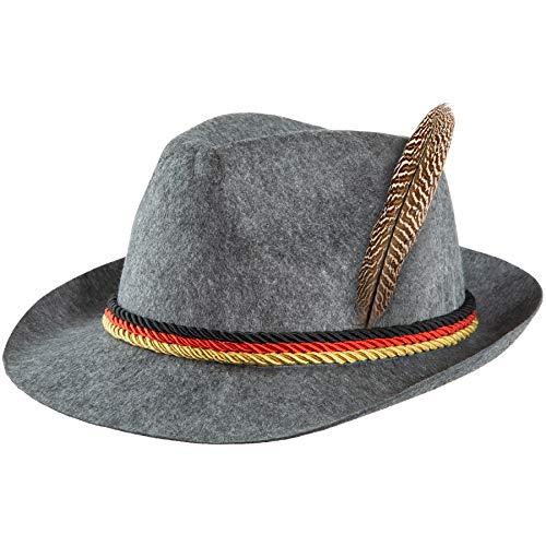 dressforfun 302853 Trachtenhut mit Feder und Deutschland Kordel, Jägerhut für Oktoberfest, Trachten Party, grau
