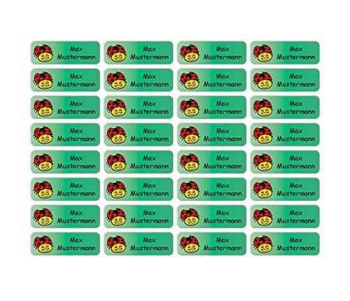 Sunnywall® Namensaufkleber Namen Sticker Aufkleber Sticker 4,8x1,6cm | 60 Stück für Kinder Schule und Kindergarten 38 Hintergründe zur Auswahl (33 Marienkäfer)