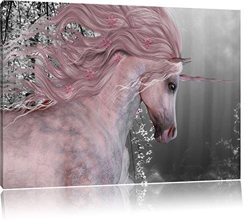 Pixxprint wunderbares Einhorn als Leinwandbild | Größe: 100x70 cm | Wandbild | Kunstdruck | fertig bespannt