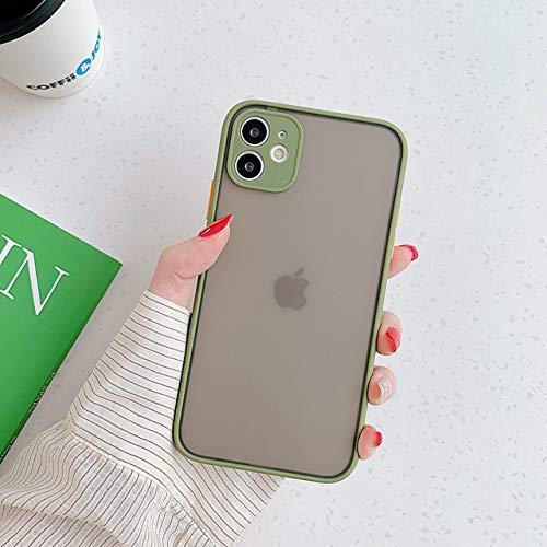 Funda para teléfono con protección de cámara para iPhone 12 Mini 11 Pro Max XR XS Max 6S 8 7 Plus SE2 Bumper mate Funda transparente de TPU suave a prueba de golpes, Verde militar, Para iPhone XR