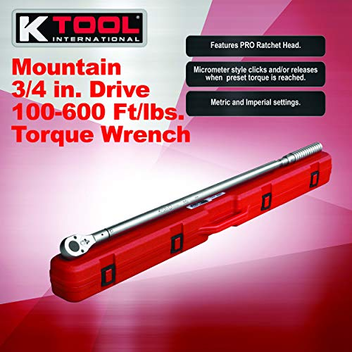 Mountain 16600 3/4 In. Drive Torque Wrench with Pro Ratchet Head, 100-600'/Lbs