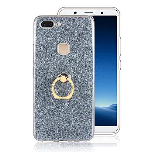 GARITANE Hülle für HTC Desire 825,Bling Glitzer Handyhülle Clear Silikon Bumper Tasche Hülle Cover mit Ring Ständer Fingerhalterung (Blau)