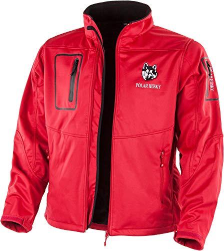 Polar Husky® Herren Softshell-Jacke mit Fleece-Innenfutter - wasserdichte Regenjacke Outdoor Farbe Rot/Schwarz Größe XL