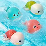 Funsland Baby BathToysfor Kids Bathtime Fun 4 Pack Wind up BathtubToys Swimming Toys Turtles and Dolphin SensoryWater ToysforBaby Boys and Girls for Ages 6 Months & up