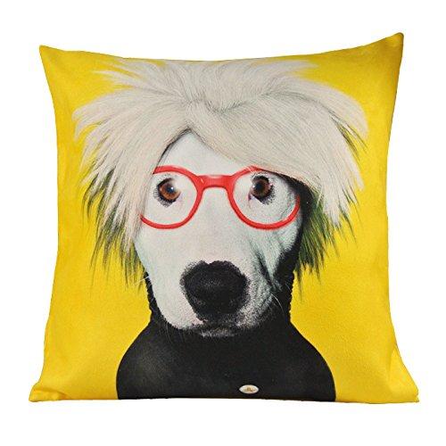 NAVAdeal Funda de cojín decorativa con diseño de perro pop, color amarillo