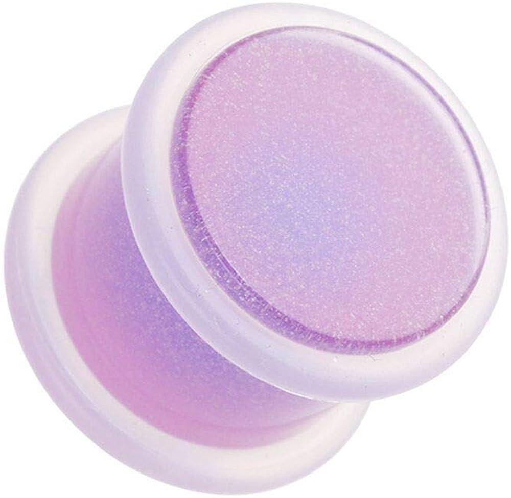 Covet Jewelry Lilac Purple Basic Acrylic Glow in The Dark No Flare Ear Gauge Plug