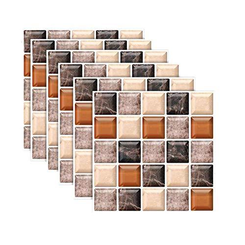 XinQing-Pegatinas de pared 6/12 piezas de imitación 3D Baldosa de cerámica Pegatinas de pared Mármol Imitación Etiquetas engomadas autoadhesivas a prueba de agua Cuarto de baño Modificación del piso d