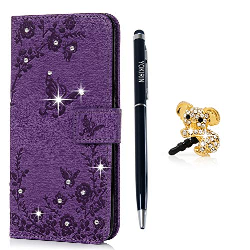 YOKIRIN Case for Samsung S8 Case, Bling Crystal Diamond Soft PU Leather Notebook Wallet Buterfly Embossed Cover Kickstand Card Holder Slim Flip Protective Skin Phone Case for Samsung Galaxy S8 Purple