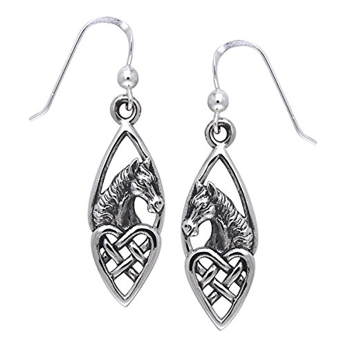Jewelry Trends Horse with Celtic Heart Sterling Silver Dangle Earrings