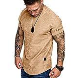 YSYOkow Camiseta de manga corta para hombre, diseño atlético de gimnasio, musculación, fitness, algodón