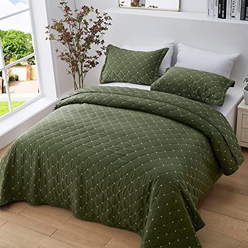 SunStyle Home Quilt Set King Green Diamond Lightweight Bedspread Coverlet Set Olive Green