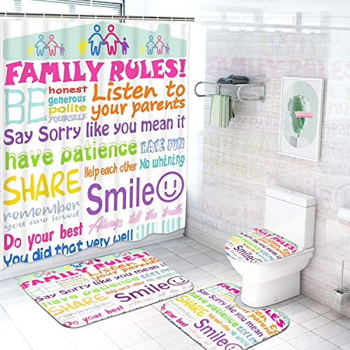 4Pcs Family Rules Shower Curtain Set with Non-Slip Rugs, Toilet Lid Cover and Bath Mat, Kids Educational Shower Curtain with 12 Hooks, Durable Waterproof Fabric Shower Curtain for Bathroom
