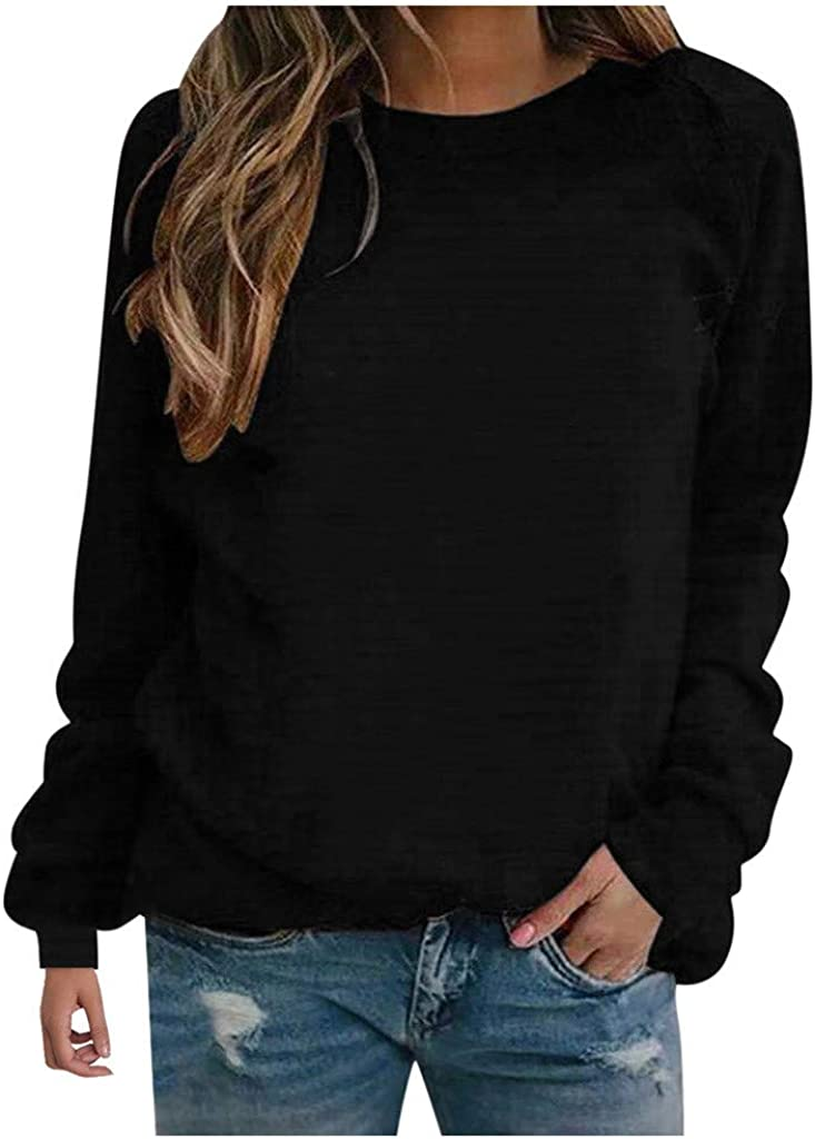 Womens Crewneck Sweatshirts,Lightweight Long Sleeve Solid Graphic Loose Pullover Tops Casual Fall Blouse