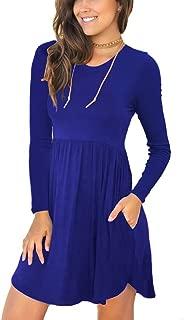 IWOLLENCE Women's Sleeveless/Long Sleeve Loose Plain Dresses Casual Short Dress with Pockets