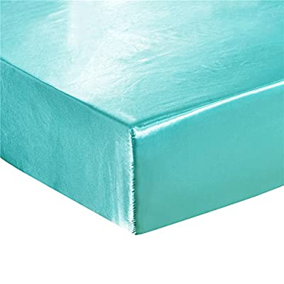 DuShow Fitted Sheet Twin Blue Satin Silky Solid...