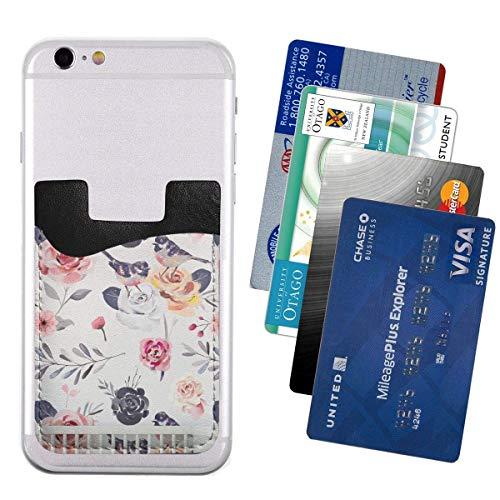 Tintenschmerz Pfingstrose und Vogel Handy-Kartenpaket PU 2,4 'x 3,5' 3M selbstklebende aufklebbare Kreditkarten-ID für Inhaber Rucksack Brieftasche Brieftasche Ärmel Popwallet, Telefon Wallet